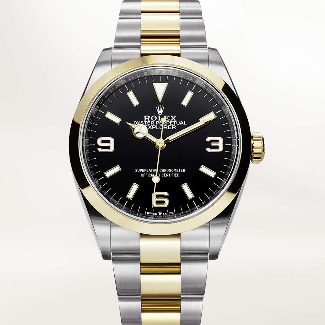 Rolex Explorer yellow gold and stainless steel with black dial