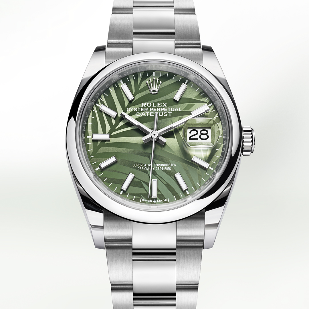 Rolex Datejust in stainless steel with green palm motifs dial