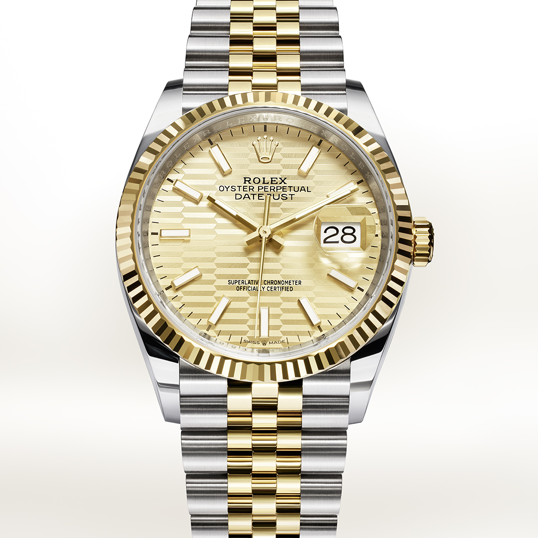 Rolex Datejust in rose gold and stainless steel with yellow dial